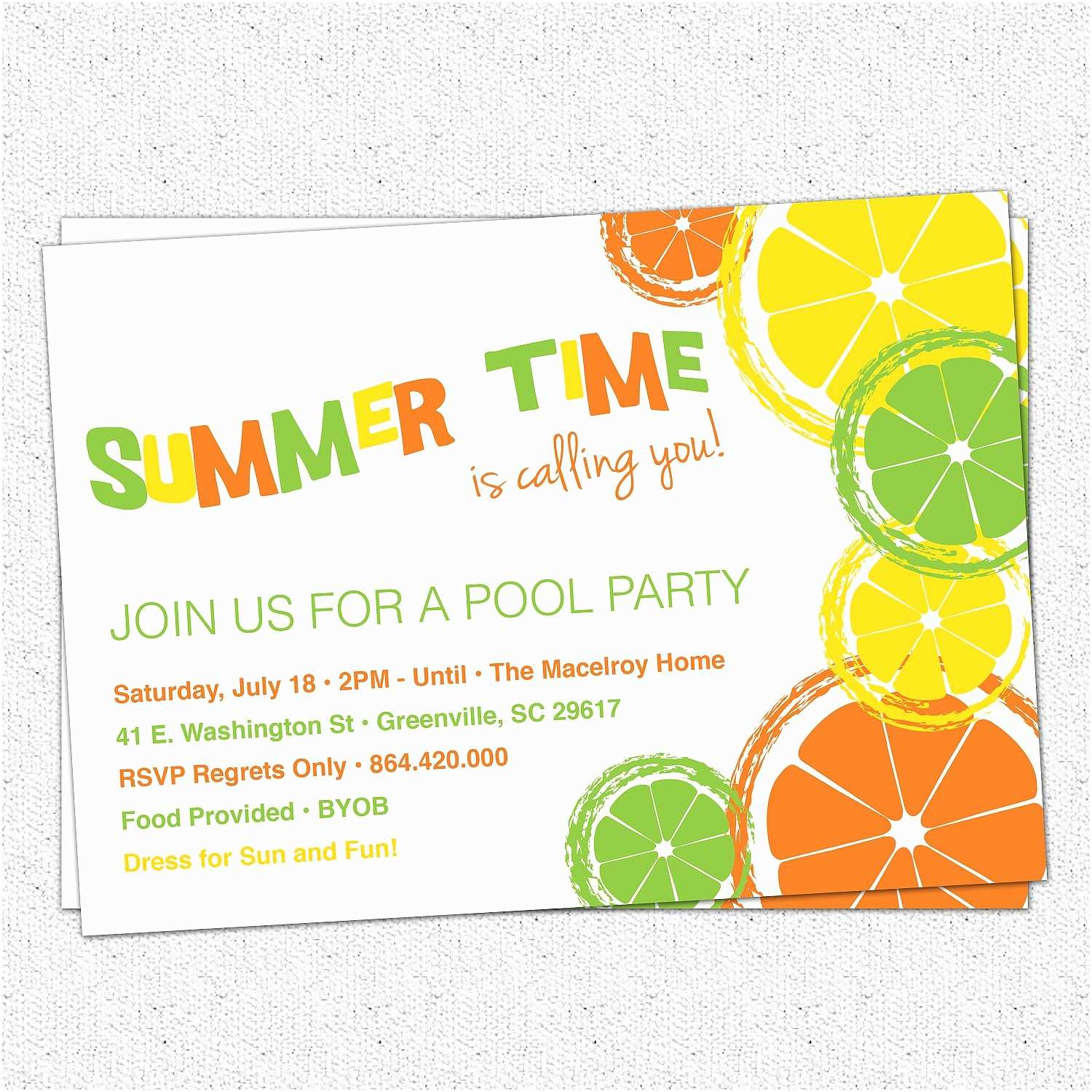 Summer Party Invitations Summer Party Invitation Template Summer Pool Party