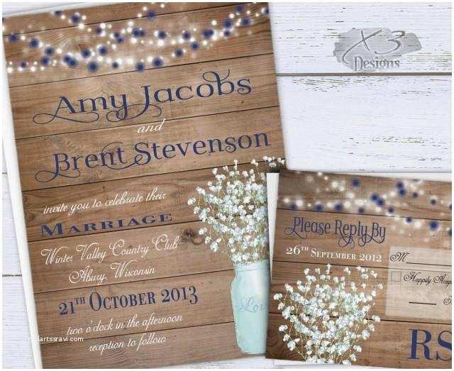 Summer Wedding Invitations Rustic Wedding Invitation Printable Summer Wedding