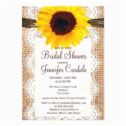 Sunflower Bridal Shower Invitations Rustic Burlap Sunflower Bridal Shower Invitations