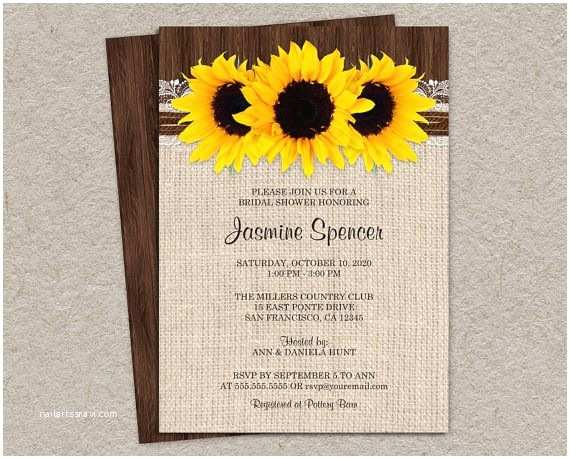 Sunflower Bridal Shower Invitations Rustic Country Sunflower Bridal Shower Invitations Diy