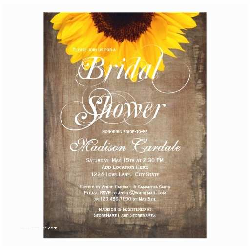 Sunflower Bridal Shower Invitations Rustic Country Sunflower Bridal Shower Invitations