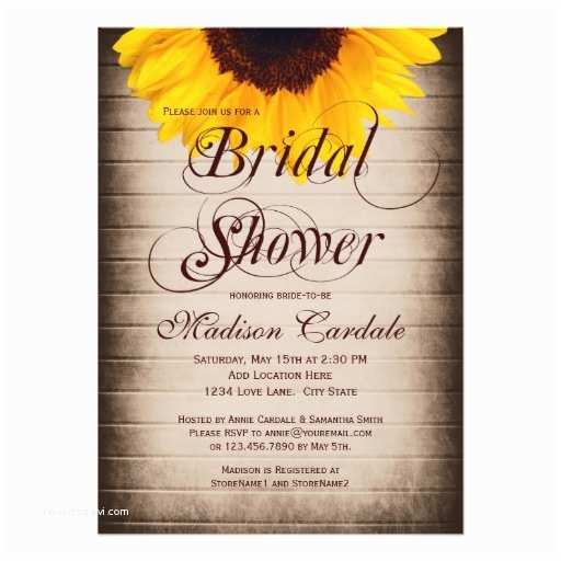 Sunflower Bridal Shower Invitations Rustic Country Sunflower Bridal Shower Invitations