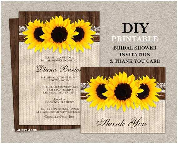 Sunflower Bridal Shower Invitations Rustic Country Sunflower Bridal Shower Invitations with Thank