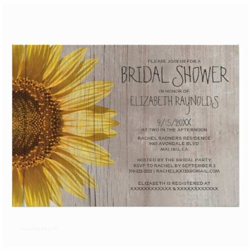 Sunflower Bridal Shower Invitations Rustic Sunflowers Bridal Shower Invitations