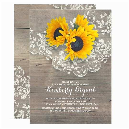Sunflower Bridal Shower Invitations Rustic Sunflowers Wood Lace Bridal Shower Card