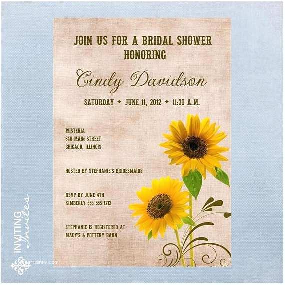 Sunflower Bridal Shower Invitations Sunflower Bridal Shower Invitation Printable Digital File