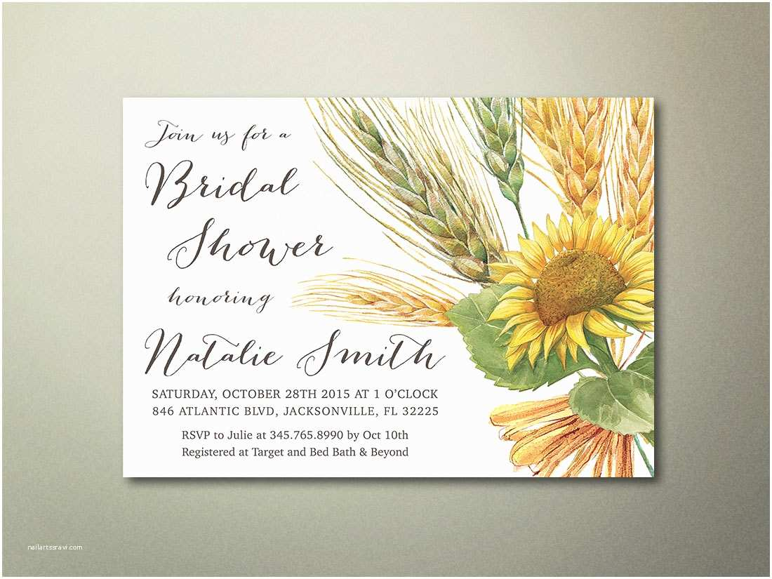 Sunflower Bridal Shower Invitations Sunflower Bridal Shower Invitation Printable Rustic by Lipamea