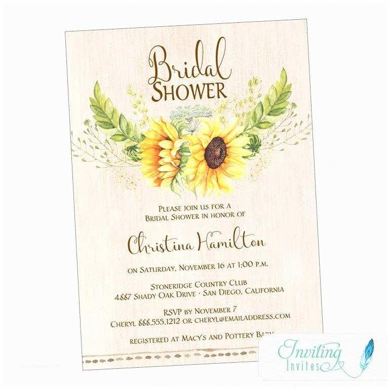 Sunflower Bridal Shower Invitations Sunflower Bridal Shower Invitation Rustic Sunflower