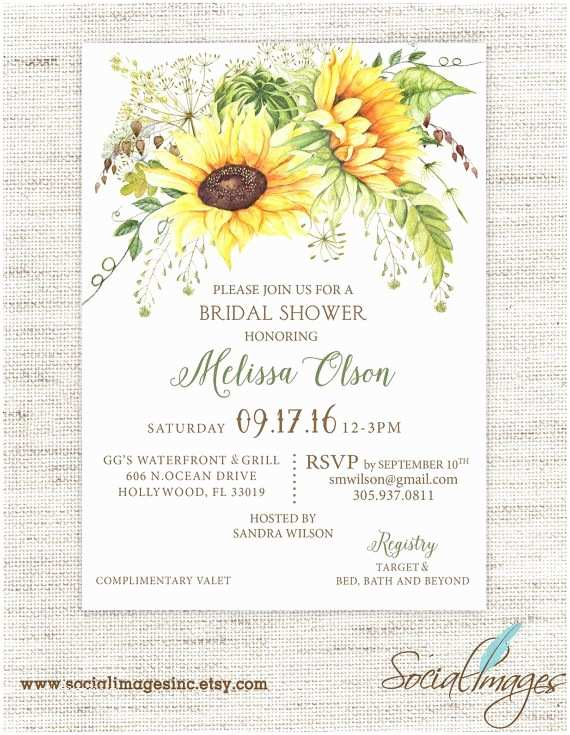 Sunflower Bridal Shower Invitations Sunflower Bridal Shower Invitation Wedding Shower
