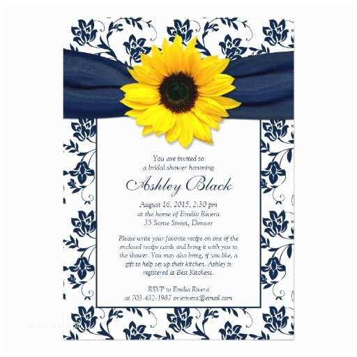 Sunflower Bridal Shower Invitations Sunflower Navy Damask Bridal Shower Invitation