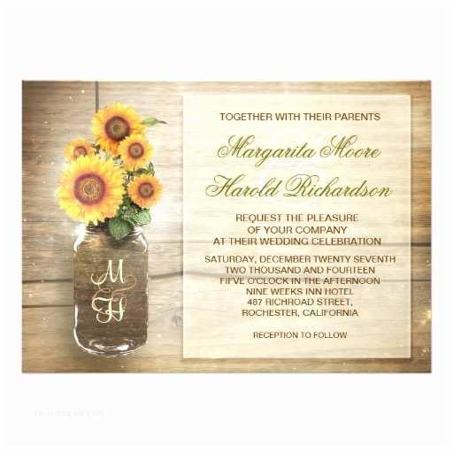 Sunflower Bridal Shower Invitations Sunflower Rustic Mason Jar Cute Wedding Invitation