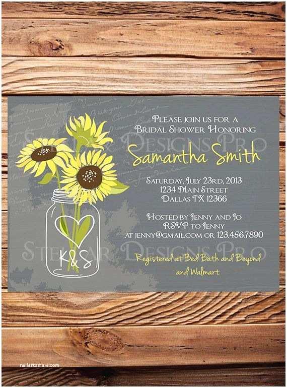 Sunflower Bridal Shower Invitations Sunflowers Mason Jar Bridal Shower Invitation Vintage