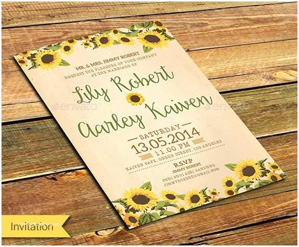 Sunflower Wedding Invitations 21 Sunflower Wedding Invitation Templates – Free Sample