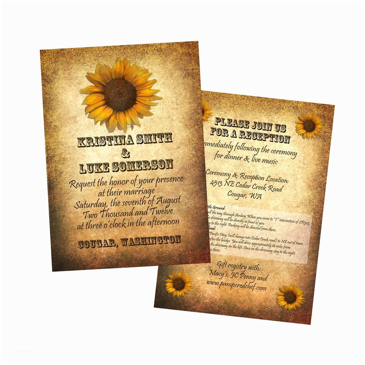 Sunflower Wedding Invitations Sunflower Wedding Invitation 25 Count – Epaperheart