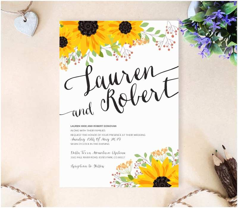 Sunflower Wedding Invitations Sunflower Wedding Invitation Lemonwedding