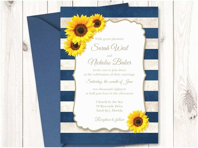 Sunflower Wedding Invitations Sunflower Wedding Invitation Printable Template with Navy