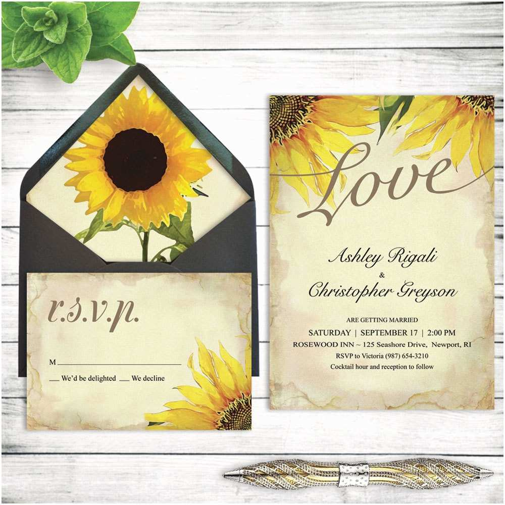 Sunflower Wedding Invitations Wedding Invitations Sunflower Fall Autumn Spring Summer