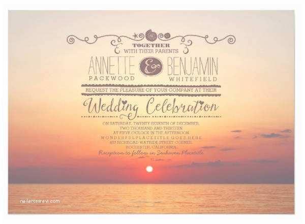 Sunset Beach Wedding Invitations 75 Wedding Invitations In Psd