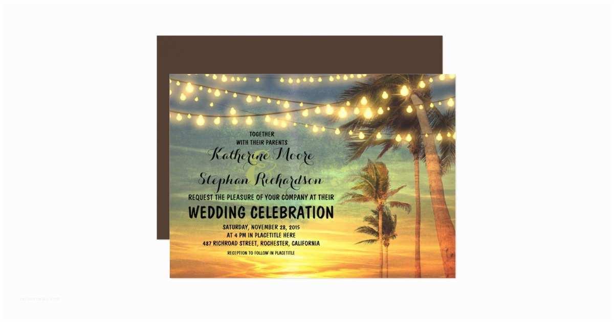 Sunset Beach Wedding Invitations Beach Sunset and String Lights Wedding Invitation