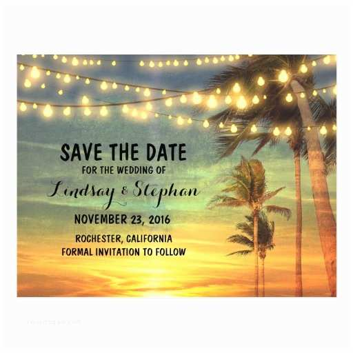 Sunset Beach Wedding Invitations Beach Sunset Save the Date Postcards