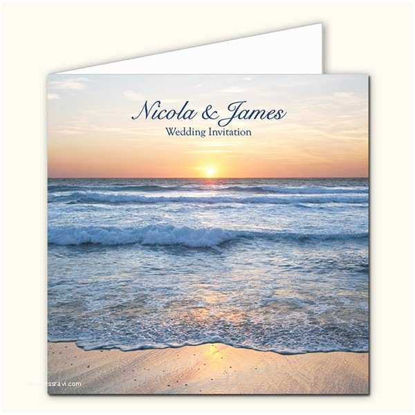 beach wedding invitations open out sea sunset