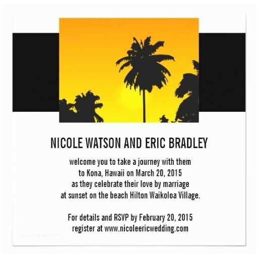 Sunset Beach Wedding Invitations Beach Wedding Invitations Sunset Palm Trees