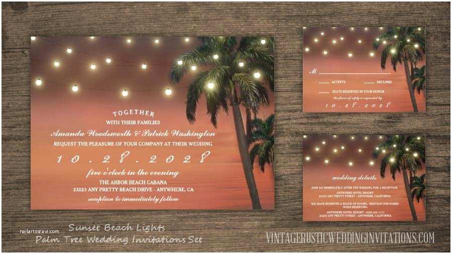 Sunset Beach Wedding Invitations Beach Wedding Invitations Vintage Rustic Wedding Invitations