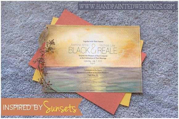 Sunset Beach Wedding Invitations Hand Painted Invitation Sunset Hand Painted Weddings