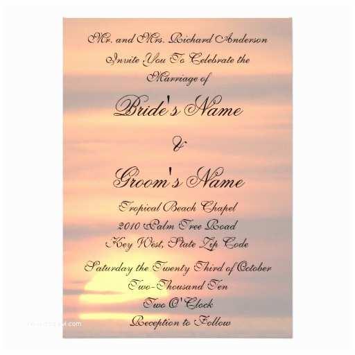 Sunset Beach Wedding Invitations Key West Beach Sunset Tropical Wedding Invitation