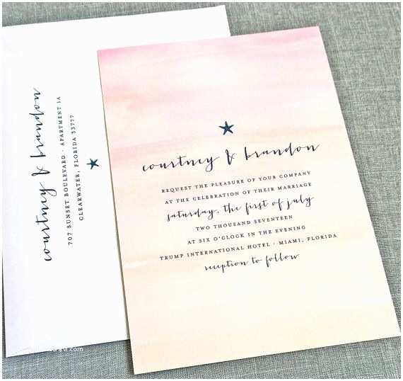 Sunset Beach Wedding Invitations New Courtney Watercolor Sunset Beach Wedding Invitation