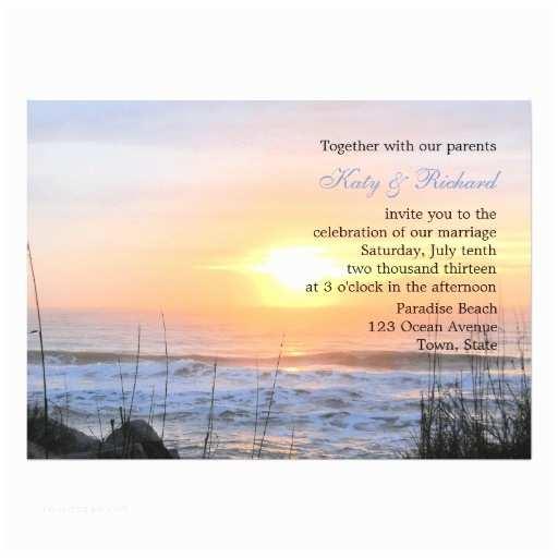 "Sunset Beach Wedding Invitations Ocean Sunset Wedding Invitation 5"" X 7"" Invitation Card"