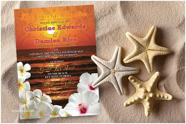 Sunset Beach Wedding Invitations Party Simplicity Destination and Tropical Beach Wedding