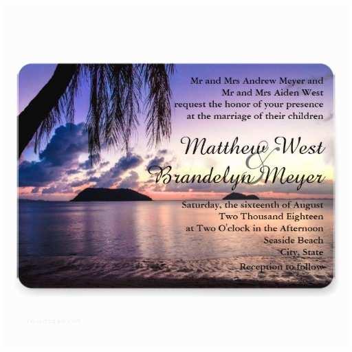 "Sunset Beach Wedding Invitations Romantic Beach Purple Sunset Wedding Invitation 5"" X 7"
