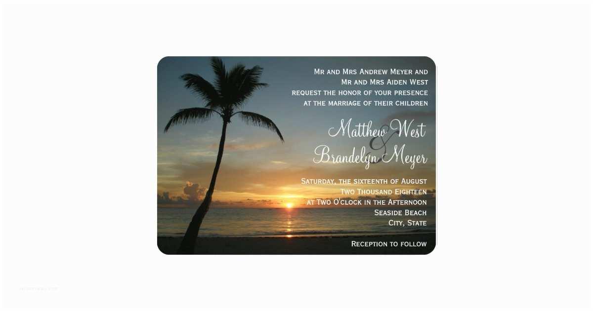 Sunset Beach Wedding Invitations Romantic Beach Sunset Wedding Invitation