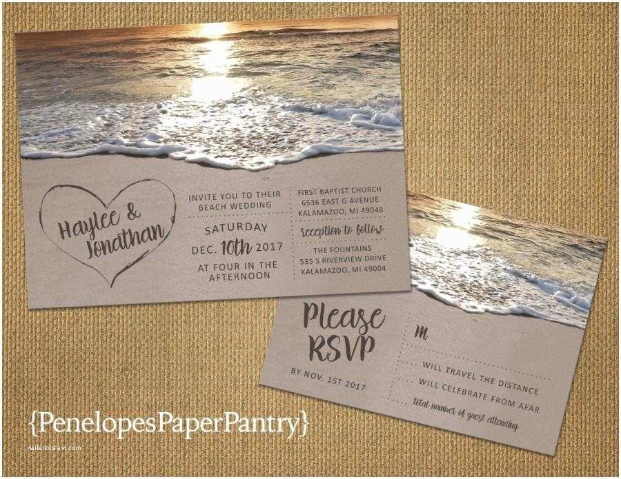 Sunset Beach Wedding Invitations Romantic Beach Wedding Invitation Heart In the Sand Sandy