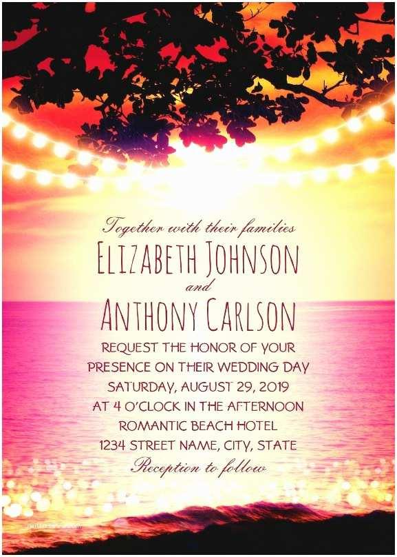 Sunset Beach Wedding Invitations String Lights Sunset Rustic Beach Wedding Invitations