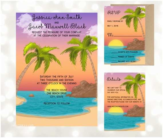Sunset Beach Wedding Invitations Sunset Beach Cove Wedding Invitation Suite by