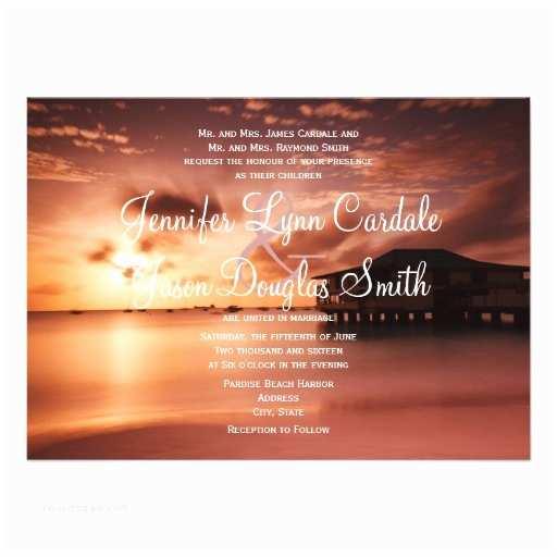 "Sunset Beach Wedding Invitations Sunset On Beach Harbor Marina Wedding Invitations 4 5"" X 6"