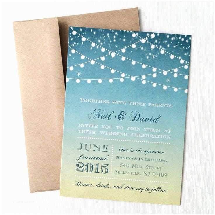 Sunset Beach Wedding Invitations Sunset Wedding Invitation Printed Starry Night String
