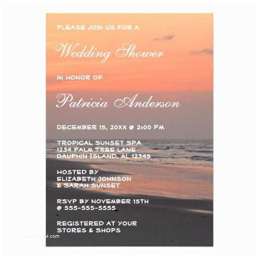 "Sunset Beach Wedding Invitations Tropical Beach Sunset Wedding Bridal Shower Vertic 5"" X 7"