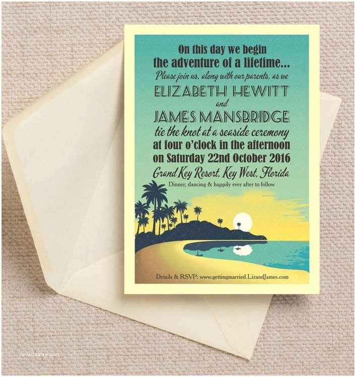 Sunset Beach Wedding Invitations Tropical Beach Sunset Wedding Invitation From £1 00 Each
