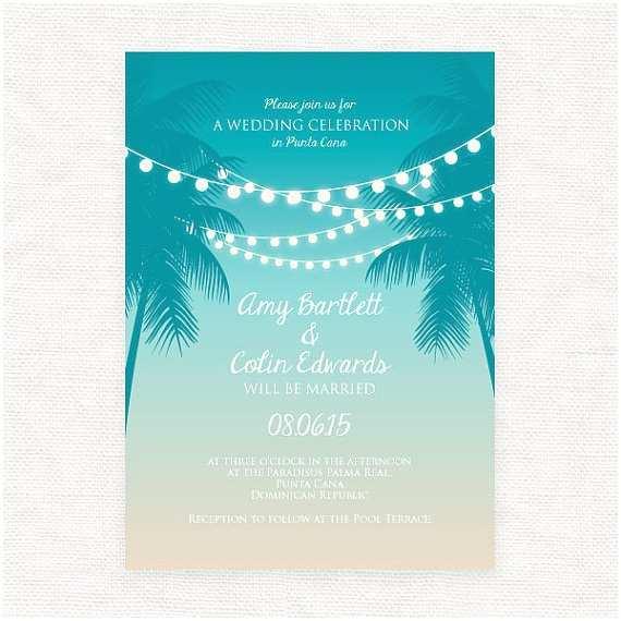 Sunset Beach Wedding Invitations Tropical Printable Wedding Invitation Digital File Beach