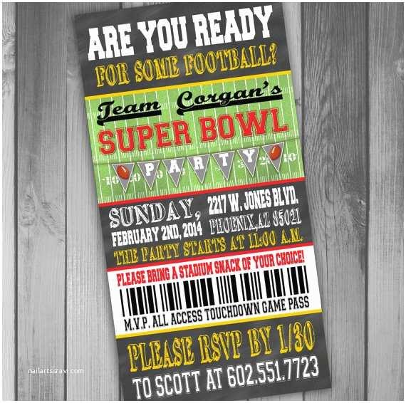 Super Bowl Party Invitations Superbowl Party Invitation Ticket Invitation Football