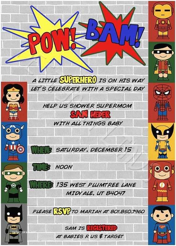 Superhero Baby Shower Invitations 179 Best Ic Book Babyshower Images On Pinterest
