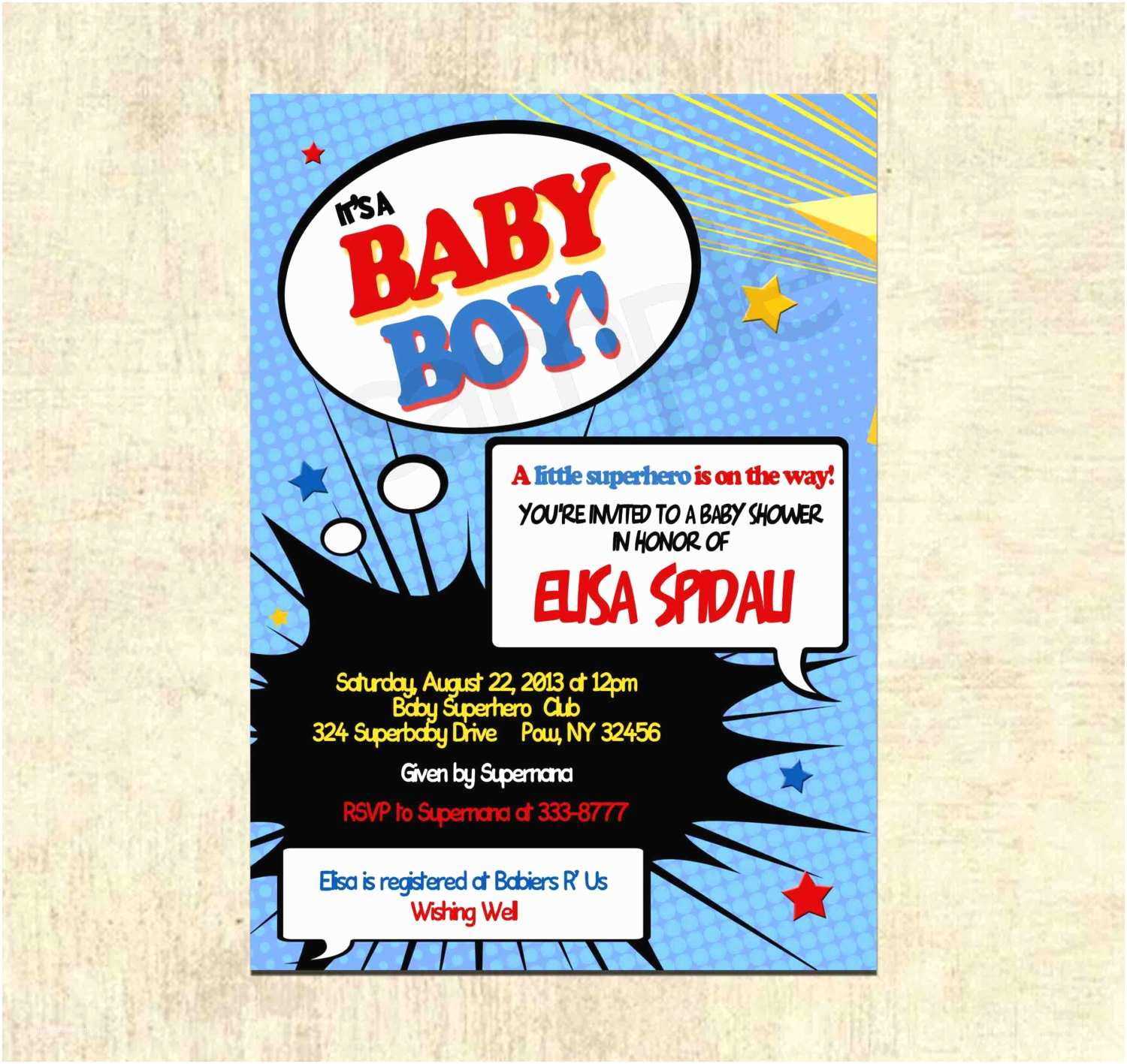 Superhero Baby Shower Invitations Baby Shower Invitation Superhero Baby Shower by theprintfairy