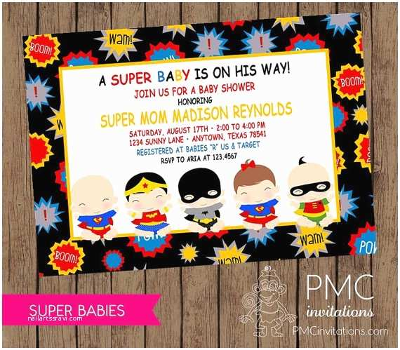 Superhero Baby Shower Invitations Custom Printed Superbabies Baby Shower by Pmcinvitations
