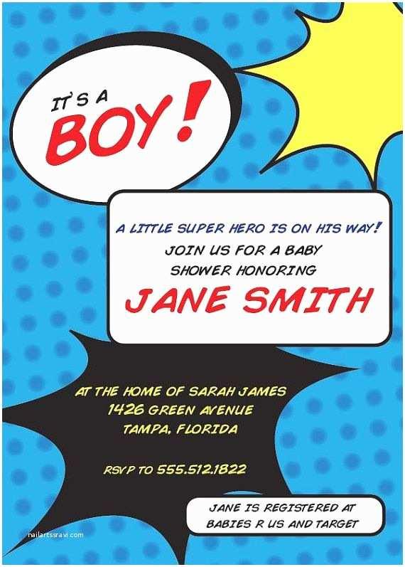 Superhero Baby Shower Invitations Custom Superhero Baby Shower Invitation by