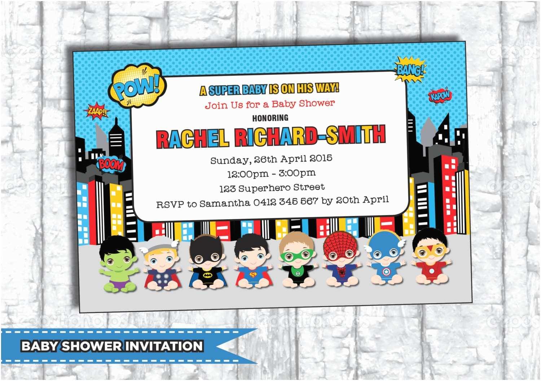 Superhero Baby Shower Invitations Superhero Baby Shower Invitation Personalized by
