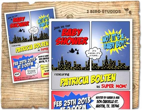 Superhero Baby Shower Invitations Superhero Baby Shower Invitation Superhero by 2birdstudios