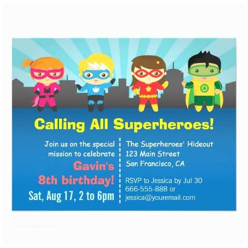 Superhero Birthday Invitations Cute Colourful Superhero Birthday Party Custom Announcements